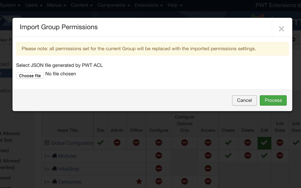 Export and import ACL permissions